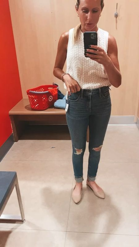 Wearing this sleeveless sweater and the universal three high rise skinny Jeans Great fabric in medium wash with minimum distressed  Cheap Agolde dupe jeans Target style   #LTKsalealert #LTKDay #LTKSeasonal