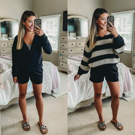 Love these cozy and casual lounge looks to go from summer into fall! ☀️🍂 these black shorts with pockets are so comfy and functional and I love these soft tops- the criss cross one is perfect for postpartum and nursing!   #LTKsalealert #LTKunder50