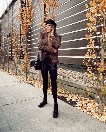 First day of FALL outfit idea, including faux leather shorts, a plaid blazer, lug sole boots, and of course TIGHTS. #freepeople #abercrombie  #LTKstyletip #LTKunder100 #LTKSeasonal