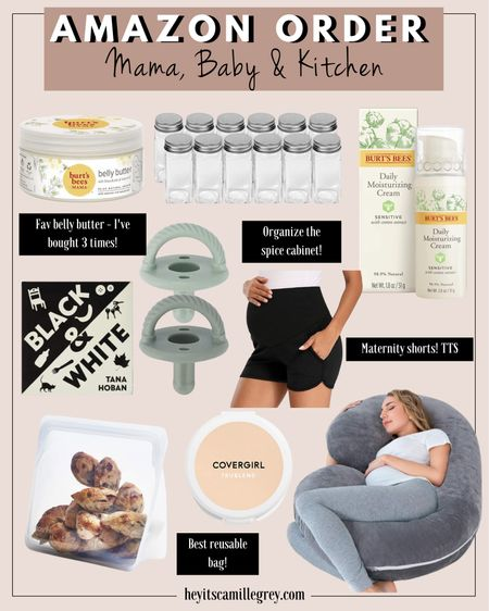 Amazon Order for Mama, Baby and the Kitchen Burt's Bees Belly Butter - my fav since being pregnant! Spice containers to organize the spice cabinet Burt's Bees moisturizer - pregnancy safe! Black and White Baby book Maternity lounge shorts - they have pockets! Covergirl translucent powder - I've been using for over 5 years! Pregnancy pillow - great for third trimester! Stasher bag - these are my favorite reusable bags Green pacifiers   #LTKbaby #LTKhome #LTKunder50