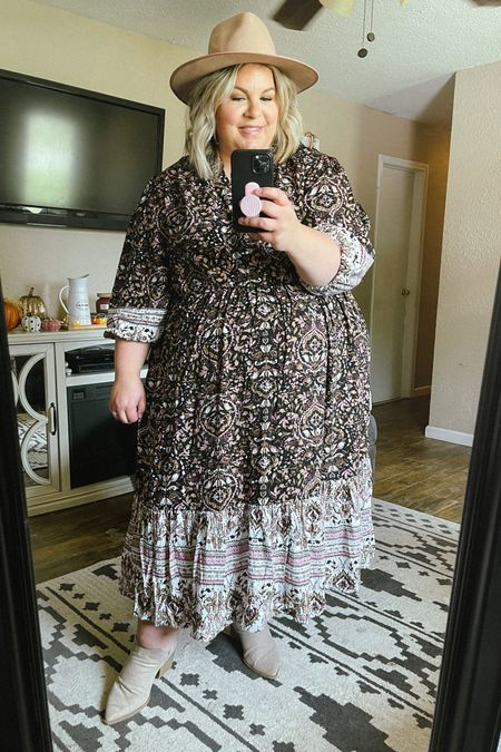 Our favorite plus size dress is still fully stocked in sizes 1X-4X! If you need a great plus size fall dress for a family photo outfit, this one is beautiful and only $30!   #LTKSeasonal #LTKunder50 #LTKcurves