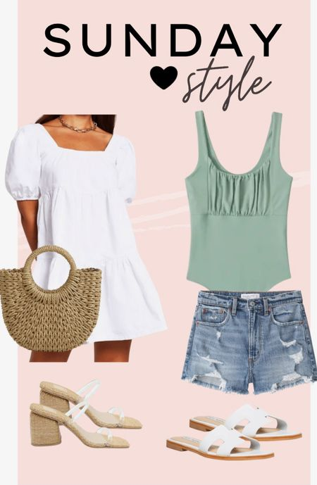 White layered dress with basket woven handbag and clear heels. Denim distressed mom shorts paired with a mint smocked top bodysuit and sandals. Abercrombie favorites. Chicwish   #LTKSpringSale #LTKunder50 #LTKSeasonal