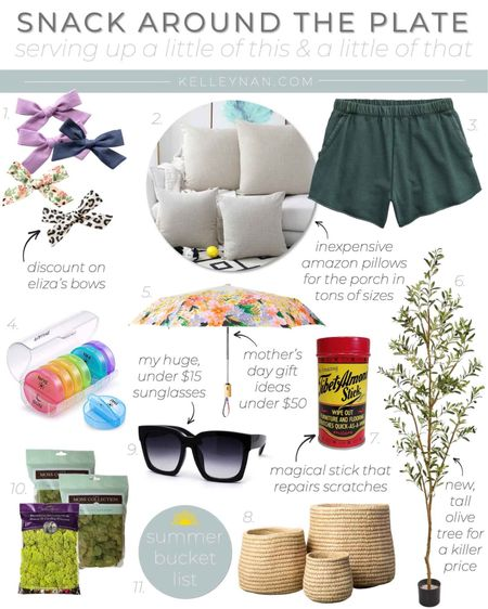 A little of this and that, including mother's Day gift ideas under $50!  http://liketk.it/3dJxl #liketkit @liketoknow.it #LTKhome #LTKunder50 #LTKfamily Amazon find Target find Anthropologie find gift guide oversized sunglasses vitamin organizer scratch repair stick comfy jogging shorts inexpensive outdoor pillow reindeer moss plant pot pretty umbrella faux olive tree toddler bows