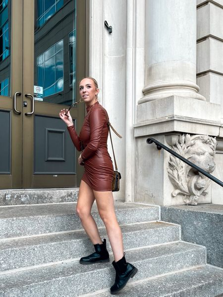 Leather dress, city outfit, street wear, classy outfit, brown, booties, fall outfits   #LTKSeasonal #LTKunder50 #LTKfit