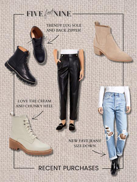 A few recent purchases! Combat boots, suede ankle boots, Agolde oversized jeans, faux leather pants   #LTKSeasonal #LTKshoecrush