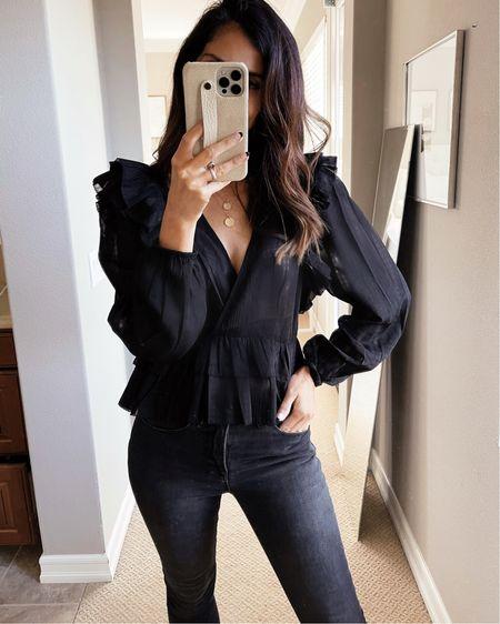 Wearing a size small top, express style, date night style, ruffle blouse, black blouse, jeans, StylinByAylin   #LTKstyletip #LTKSeasonal #LTKunder100