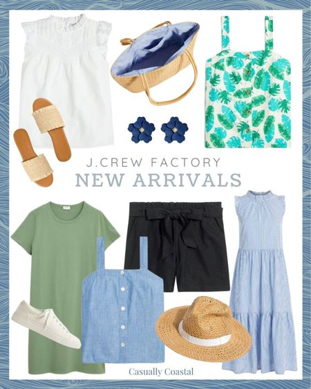 """Lots of new pieces at J.Crew Factory this week, most of which are on sale! Also, take an extra 25% off $100+ with code BIGFOUR!  @liketoknow.it #liketkit #LTKsalealert #LTKunder50 #LTKunder100 http://liketk.it/3fNpm  gifts gifts for her, gifts for mom, resort style, resort wear, summer accessories, white blouses, spring blouses, ruffled blouse, flat sandals, jcrew sandals, flat leather sandals, woven sandals, raffia sandals, sleeveless tops women, tops for under cardigans, tops for under blazers, sleeveless blouses, date night tops, tops for work spring, midi dresses, midi dresses summer, affordable midi dresses, dresses for everyday, dresses for summer, summer dresses casual, summer dresses women, inexpensive outfit, inexpensive dress, beach vacation dresses, beach dresses, summer dress, statement earrings, summer accessories jewelry, summer earrings, beach vacation outfits, beach vacation accessories, vacation outfits, summer fashion, preppy style, sun hat, straw hat, beach hats, brown sun hat, beach hats for women, beach essentials, beach bag essentials, summer essentials, jcrew factory, jcrew shorts 3.5"""" shorts, 3.5 inch shorts, mom shorts, shorts for moms, eyelet top, paper bag shorts, black dress shorts, linen shorts, shorts with a bow, shorts with a tie, t-shirt dress, tshirt dress, white canvas sneakers, white sneakers"""
