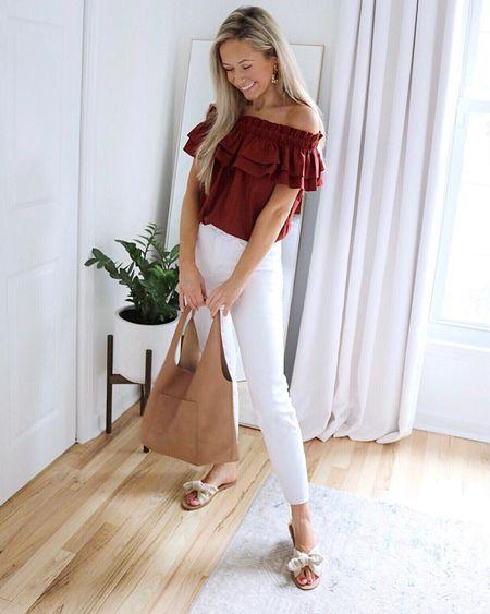 Express jeans Express bodysuit cute summer outfit tan tote bag bow sandals   #LTKshoecrush #LTKunder100 #LTKstyletip