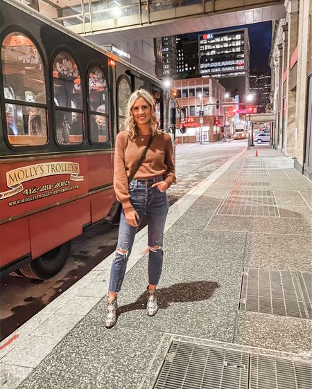 Wore this outfit to dinner in Pittsburgh. Love the bubble sleeves on this sweater. It's slightly cropped but I tucked it in to my high rise jeans. http://liketk.it/2KFup @liketoknow.it #liketkit #LTKunder100 #LTKunder50 #LTKshoecrush