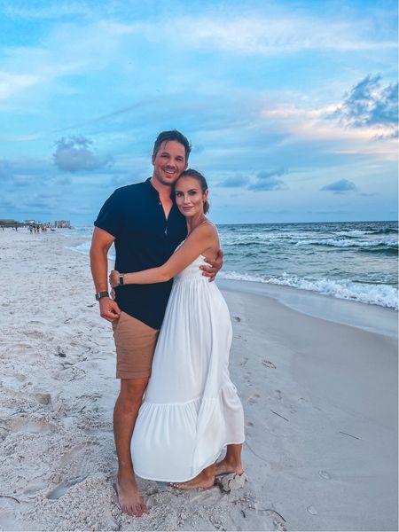 30a beach family couple photo. Z Supply long white dress under $100