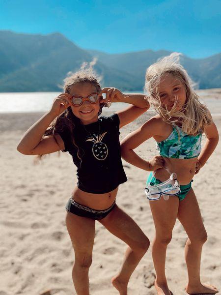 Girls' Bikini Swimsuit (comes with a Long Sleeve Crop Top Rashguard) - Green  Girls' Gold Foil Pineapple Bikini Swimsuit and Rashguard Swim Shirt Set - Cat & Jack - Black  Cressi Mini F1 Frameless Scuba Diving Mask for Kids   #LTKkids #LTKfamily #LTKtravel