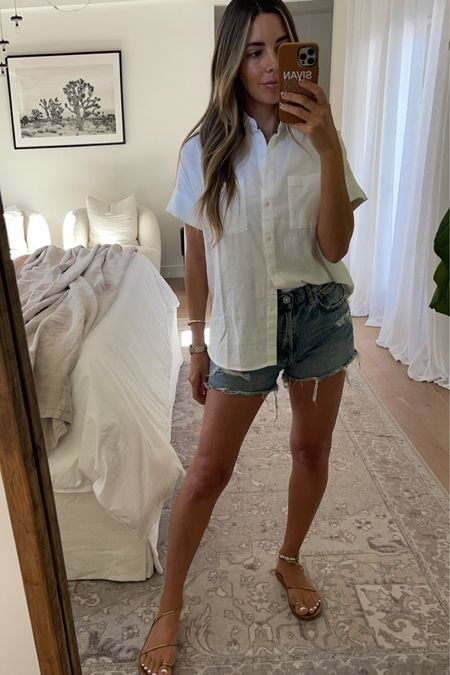 denim shorts and white blouse outfit http://liketk.it/3lamj #liketkit @liketoknow.it #LTKunder100 #LTKunder50 #denimshorts