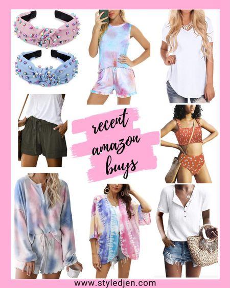 Amazon woman's fashion clothing finds: pearl knotted headband, tie dye loungewear pajama set, white t-shirt, orange bikini, tie dye kimono, tie dye shorts and long sleeve, waffle knit tee, cargo shorts    #LTKstyletip #LTKunder100 #LTKunder50