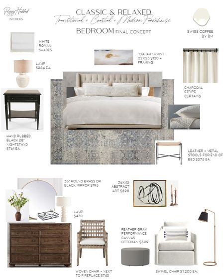 Classic and Relaxed Transitional, California Casual, and Modern Farmhouse Bedroom By Peggy Haddad Interiors / blue rug, black nightstands, sitting area, light and bright http://liketk.it/2Wt8e #liketkit @liketoknow.it #StayHomeWithLTK #LTKhome @liketoknow.it.home