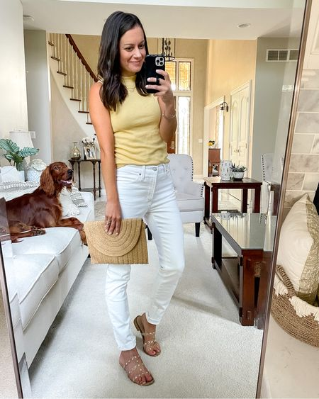 Out to dinner outfit! White jeans (run small, size up), $10 Walmart Mockneck tank (tts - wearing a small), studded sandals (tts) amazon straw bag   #LTKstyletip #LTKitbag #LTKunder50