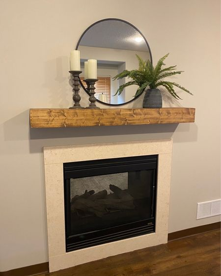 Here is a fun and easy way to fix up a flat boring fireplace. Purchase a floating shelf for your mantel, round mirror and a few decor items!   @liketoknow.it.home http://liketk.it/2WeB7 #liketkit @liketoknow.it You can instantly shop all of my looks by following me on the LIKEtoKNOW.it shopping app #StayHomeWithLTK #LTKhome