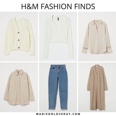 h&m fashion finds, hm, Rib-knit Cardigan, Collared Ribbed Top, V-neck Blouse, Shirt Jacket, Mom High Ankle Jeans, Long Cardigan, fall outfits, fall fashion, fall style   #LTKSeasonal #LTKunder50 #LTKsalealert