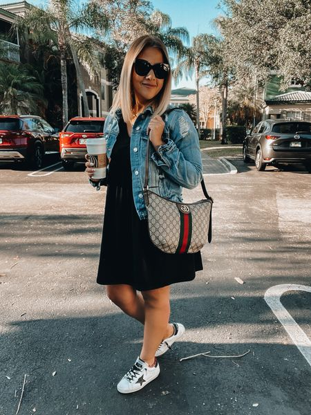 LBD,  Mini Black Dress, Baby Doll dress, denim jacket, golden goose sneakers, neutral sneakers, white sneakers, quay Australia sunnies, Gucci Bag, layered necklace, stud earrings, LV watchband   #LTKitbag #LTKshoecrush #LTKstyletip