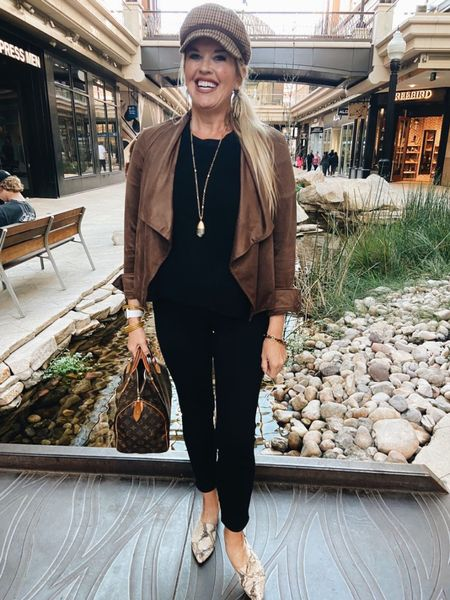 Bb Dakota faux suede jacket  from Social Threads paired with the perfect pant by #spanx makes for one easy and chic outfits 🖤🍂🖤🍂 . Tip Tuesday: Introduce a little pattern play…when dealing with two strong solids ✔️ like shown here… snake skin shoes and a small plaid print on the hat🖤 This adds a little texture, and interest.  . Jacket  TTS,  Spanx TTS in what you normally wear with Spanx! .  #LTKworkwear #LTKstyletip #LTKSeasonal