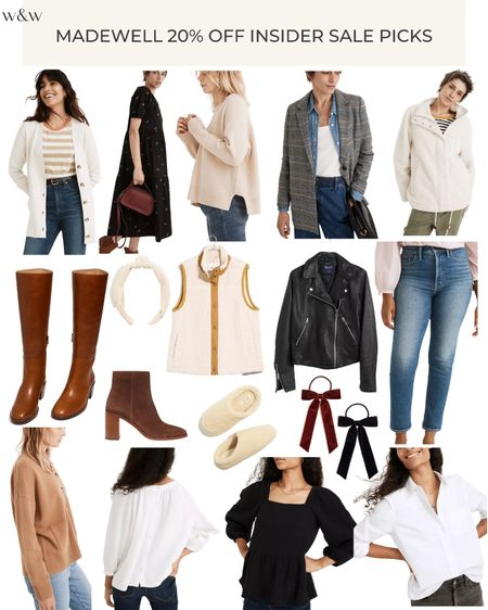 Madewell is 20% off for Insiders! It's free to sign up and you'll get to shop Fall at a discount!   Knee high boots Plaid blazer Long cardigan Sherpa pullover Cute tops Ankle booties Leather jacket Sherpa vest Button down Hair bows Headbands Sherpa slippers  Fall floral dress Cute neutral sweaters   #LTKSeasonal #LTKsalealert