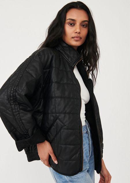 Free People, black vegan leather, new arrival, fall, quilted jacket  #LTKSeasonal #LTKstyletip