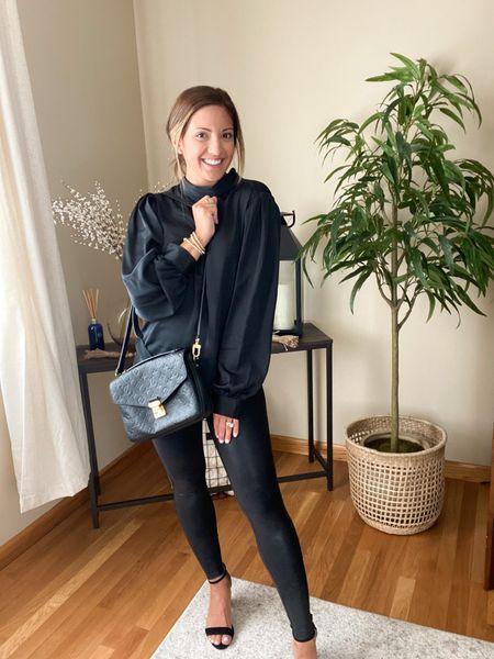 Spanx faux leather leggings on major sale !! Wearing size petite small !   #LTKstyletip #LTKsalealert #LTKunder100