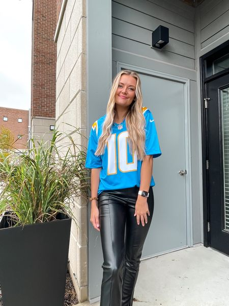 Sunday football game outfit! Absolutely loving these leather pants!   #LTKstyletip #LTKunder50 #LTKunder100
