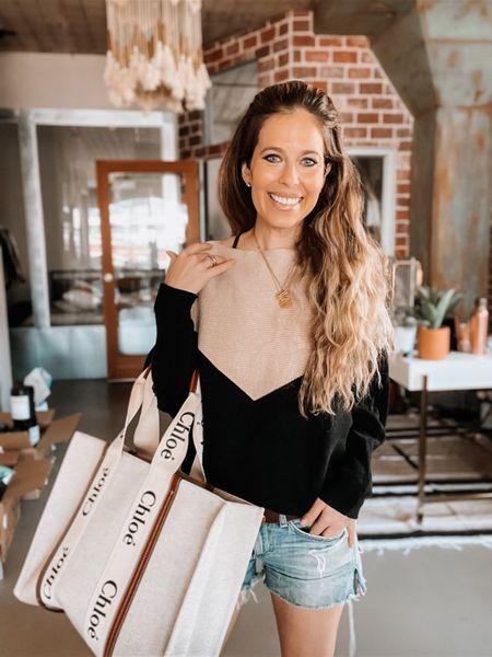 Amazon fashion, Amazon sweater, business casual, gold necklace, jean shorts, Gucci belt, tote, Chloe   #LTKitbag #LTKunder50 #LTKworkwear