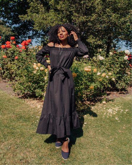 Black long-sleeved Bardot Midi-dress, great for transitional dressing into Autumn.  #LTKSeasonal #LTKunder100 #LTKeurope