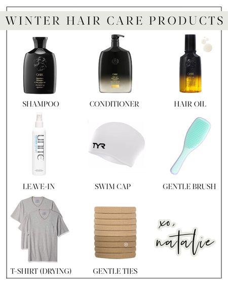 hair products, hair oil, dry scalp, shower cap, detangler, hairbands, shampoo, conditioner