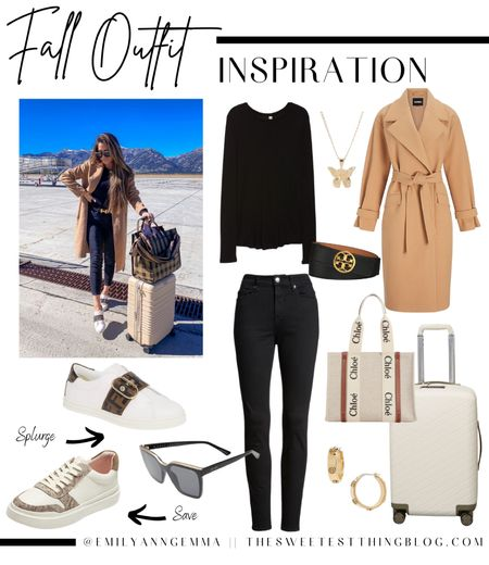 Travel Outfit, Fall Outfit, Casual Fall Oufit, Camel Coat, Black Skinny Jeans, Black Long Sleeve Tee, Butterfly Necklace, Carry On Suitcase, gold hoop earrings, fendi sneakers, casual sneakers, Chloe tote bag, black and gold sunglasses, Quay sunglasses, Emily Ann Gemma, emily Gemma Travel Outfit