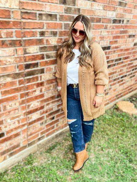 Cardigan size large tts Tee size xl tts Jeans size 14 petite tts Boots tts (last year)   #LTKstyletip #LTKunder50 #LTKcurves