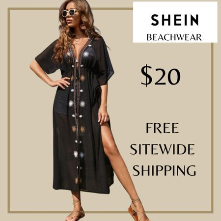Chiffon tie front swimsuit beach cover up from Shein and free sitewide shipping today   http://liketk.it/3i00F #liketkit @liketoknow.it #LTKunder50 #LTKswim #LTKstyletip You can instantly shop my looks by following me on the LIKEtoKNOW.it shopping app