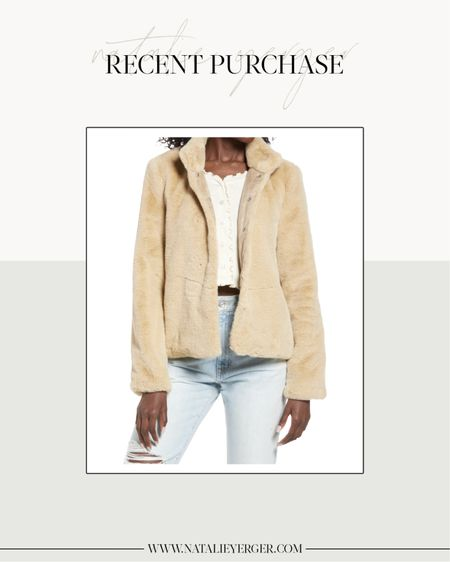 Just added this faux fur jacket under $100 to my cart for an upcoming campaign, and I just had to share it with you a little early. The color online looks a little yellow, but in person it has more of a camel tone. Love the stand collar and it will look great with turtlenecks, tees, and bodysuits!