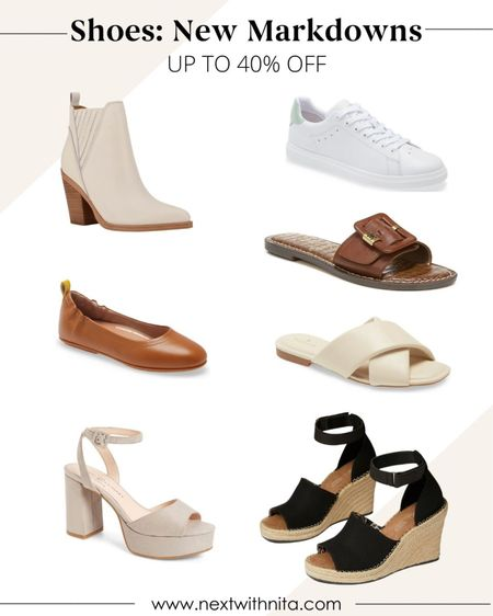 Fall shoes on sale including wedges, flats, slides, white sneakers, cream leather booties, and more!   #LTKunder100 #LTKsalealert #LTKshoecrush