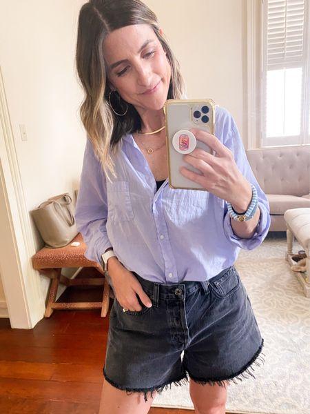 Grayson button up! Get $25 OFF with code ASHLEEHIGHTOWER Kendra Scott earrings on sale!  Agolde Parker Long Shorts! Run TTS.   #LTKsalealert