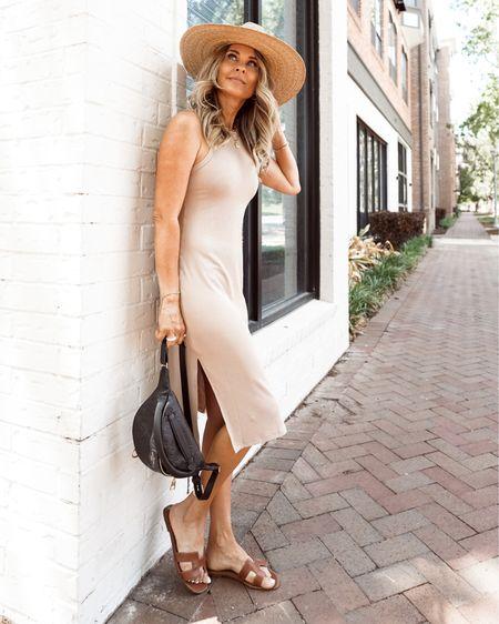 Midi knit dress, straw hat, casual weekend outfit http://liketk.it/3hs6G #liketkit @liketoknow.it #LTKunder50 #LTKsalealert #LTKstyletip