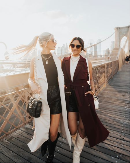 Flash SALE! Take 50% OFF both trench coat styles that I designed with @gibsonlook: the sleeveless trench coat & the lightweight trench coat! They're so versatile for fall & both can be worn as dresses. The long sleeve jacket is super lightweight with plenty of flow! Flash sale ends at 11:59 pm! … Sizing: I would go TTS in both pieces. I'm wearing the small in the lightweight trench jacket so I can wear it as a dress and I took a size XS in the sleeveless trench duster!  … Follow me in the @shop.LTK app to shop and take 15% OFF my other @gibsonlook pieces with code: HAUTE15 #nyc #ltkunder100 #nyc #newyork #brooklynbridge #fallfashion #fallstyle
