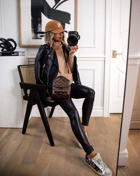 Casual fall outfit  Blank NYC Faux Leather Jacket  Spanx Faux Leather Leggings  Camel sweater Golden Goose leopard sneakers on sale   #LTKstyletip #LTKsalealert #LTKshoecrush