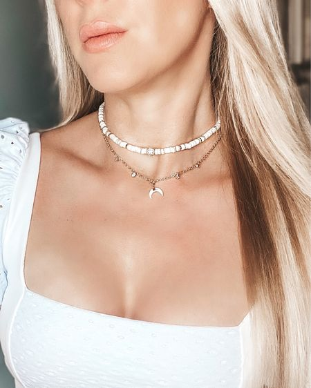 Close up of the 18K gold choker and longer length layered necklace set I've been wearing in my IG bikini pics. It's such a great summer beachy necklace set that completes an outfit and I got so many compliments on vacation. Use code Eve20 for 20% off site wide #ltkjewelry #layerednecklaces #ettika #ettikababe #wearwithconfidence   #LTKunder100 #LTKsalealert #LTKtravel
