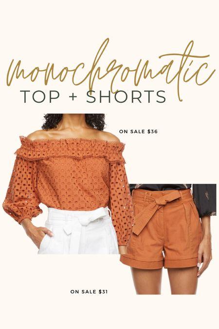 Off the shoulder top + paper bag shorts~ comes in two colors!!  Both fit TTS.  #allatjcp #JCP #JCPfinds #petitestyle #petitefashion #curvyfashion   #LTKunder50 #LTKsalealert #LTKstyletip
