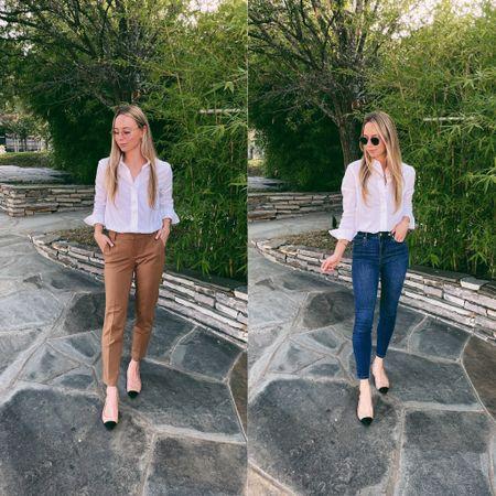 Two looks, one work shirt! Blouse: XS (White) Trouser: 4 (Maple) Denim: 4 (Kentwood)   #LTKstyletip #LTKworkwear #LTKunder100