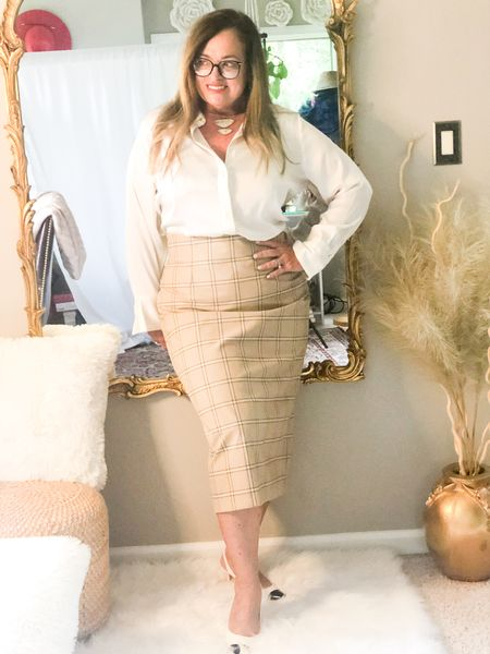 My Full Time job title is Executive Clinical Account Specialist in Womens Health.   I love an easy ivory satin blouse paired with a light plaid midi skirt. Ian wearing my KS abalone choker necklace and blue light blocking glasses.  Today we are are showing are back to work looks for #stylishmonday. Swipe to see our looks.  @asksuzannebell @sharing_a_journey @fashiontandf @seechele_styles @lucybertoldi @ameliasfleurs @shelbeeontheedge @nancysstyle @highlatitudestyle @joyousstyling @thestylesplash  #LTKworkwear #LTKcurves #LTKstyletip