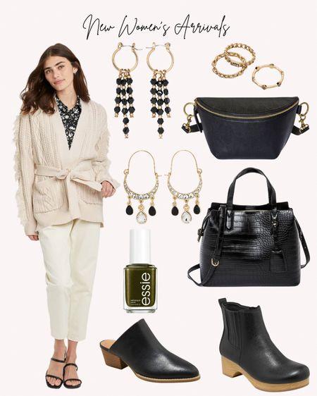 New, women's clothing, shoes, earrings, handbags, purses, nail polish, Target, fall, autumn, cream, black and white  #LTKunder50 #LTKshoecrush #LTKitbag