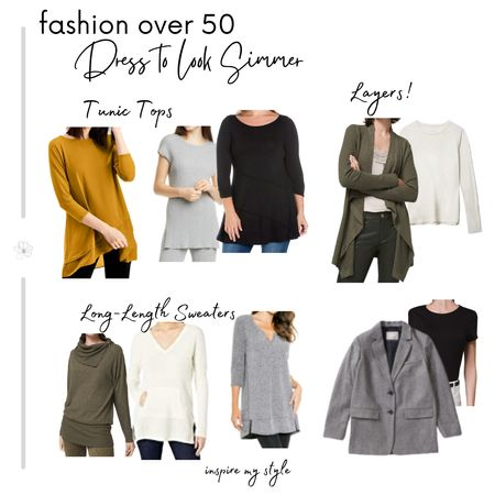 Dress to look slimmer with wise choices in tunic tops, longer sweaters, and layering separates. Find more fashion over 50 tips at https://inspiremystyle.com/dress-to-look-slimmer #fashionover50 #slimmingtops #casual #sweater #tunictop #blazer #liketkit  #LTKstyletip @liketoknow.it http://liketk.it/33Ho2