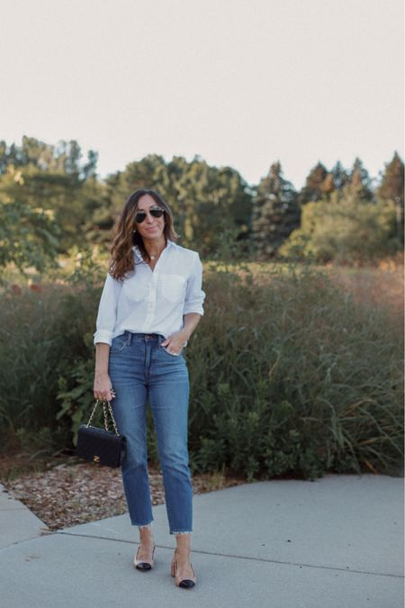 My jeans are the same styles linked just different wash (old).  Oxford shirt (from j Crew and unavailable) is almost identical to the Madewell one.