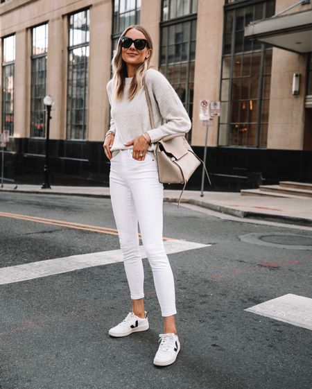 White jeans can be worn with fall outfits! Love this cozy monochrome look especially with my Veja white sneakers   #LTKshoecrush #LTKstyletip #LTKunder100