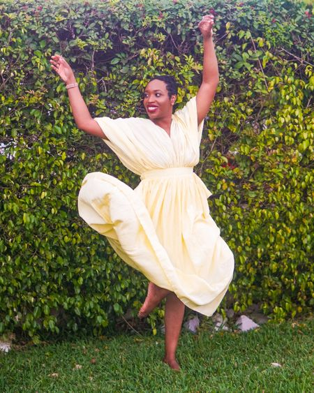 """Brown girl. 🤎 Yellow dress. 💛 Bare feet. 👣  Apologies to my mom and grandmother who would clutch their pearls if they saw me outside, barefoot and wearing my """"good Sunday dress."""" I was always a girly tomboy and loved running outside after church in my flowy gowns and my toes kissing the grass. Not much has changed!  More pics from this look are now up on the blog. LINK IN BIO!   I also found similar dresses and linked them to my @liketoknow.it profile! Download the LIKEtoKNOW.it app to shop this pic via screenshot #LTKstyletip #liketkit http://liketk.it/37nRT"""