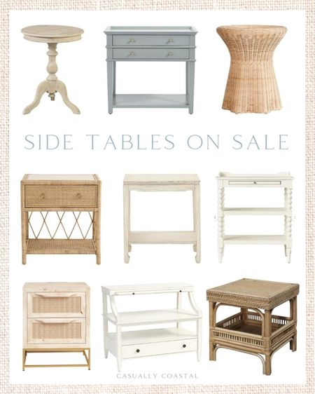 If you're on the hunt for side tables, I just came across so many that are on sale!  - home decor, coastal decor, beach house decor, beach decor, beach style, coastal home, coastal home decor, coastal decorating, coastal interiors, coastal house decor, beach style, blue and white home, blue and white decor, neutral home decor, neutral home, natural home decor, coastal end tables, coastal side tables, side tables, nightstands, end tables, white end tables, white side tables, white nightstands, blue end tables, blue side tables, blue nightstands, light wood nightstands, light wood side tables, light wood end tables, woven end tables, woven nightstands, woven side tables, living room furniture, bedroom furniture, coastal living room furniture, coastal bedroom furniture, wayfair nightstands, wayfair side tables, wayfair living room furniture, wayfair bedroom furniture, side tables on sale, nightstands on sale, end tables on sale, ballard designs end tables, ballard designs side tables, side tables with shelf, end tables with shelf, nightstands with shelf, nightstands with drawers, end tables with drawers  #LTKhome #LTKsalealert #LTKfamily