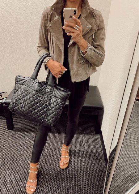 Spanx, chanel tote bag vintage mz wallace is similar and suede jacket   #LTKSeasonal #LTKunder100 #LTKSale